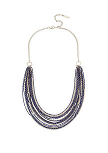 Mixed Blue & Silver Multi Row Necklace