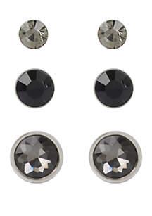 Diamond Stone Triple Stud Earrings Set