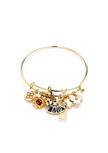 Gold-Tone Fan Charm Bracelet
