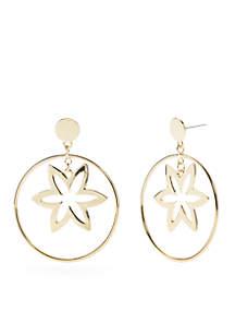 Crown & Ivy™ Gold-Tone Flower Hoop Earrings