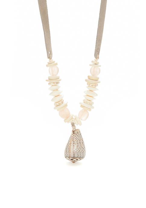 TWINE & TWIG Twine & Twig Blush Slim Shell Necklace | belk