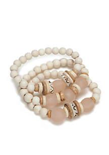Blush White Trio Stack Bracelets