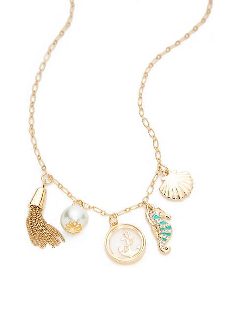 Crown & Ivy™ Boxed Gold-Tone Aqua Sealife Pearl
