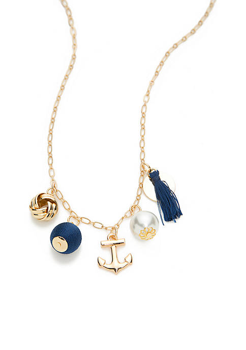 Crown & Ivy™ Boxed Gold-Tone Navy Nautical Pearl