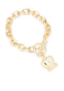 Boxed Gold-Tone Single Charm Link Bracelet