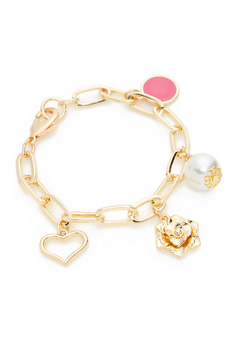 Crown & Ivy™ Boxed Gold-Tone Pearl Heart Pink