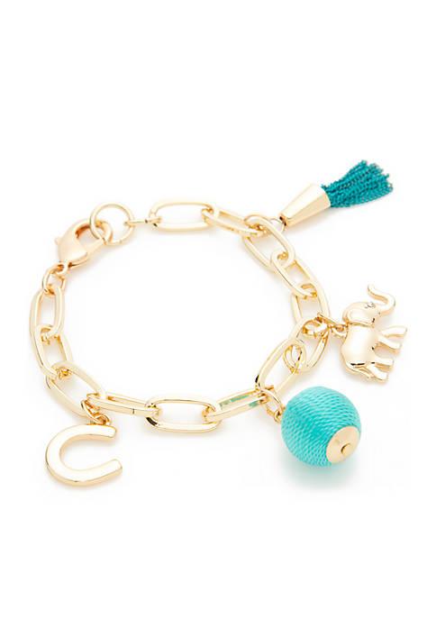Boxed Gold-Tone Elephant Turquoise Charm Link Bracelet