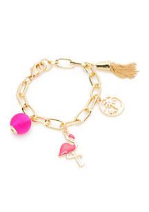 Boxed Gold-Tone Flamingo Pink Palm Charm Link Bracelet