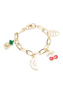 Boxed Gold-Tone Fruit Palm Leaf Charm Link Bracelet