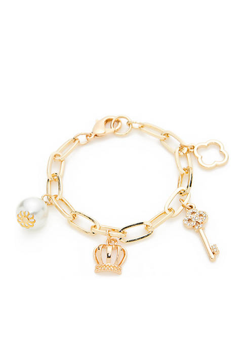 Boxed Gold-Tone Pearl Charm Link Bracelet