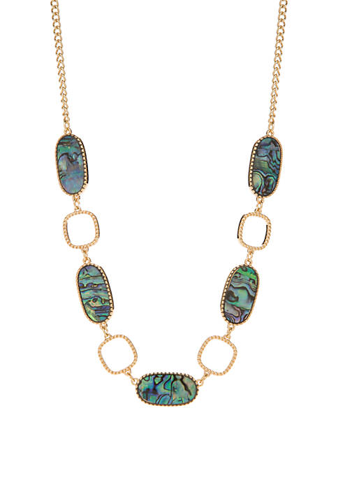 Oval Abalone and Square Link Necklace
