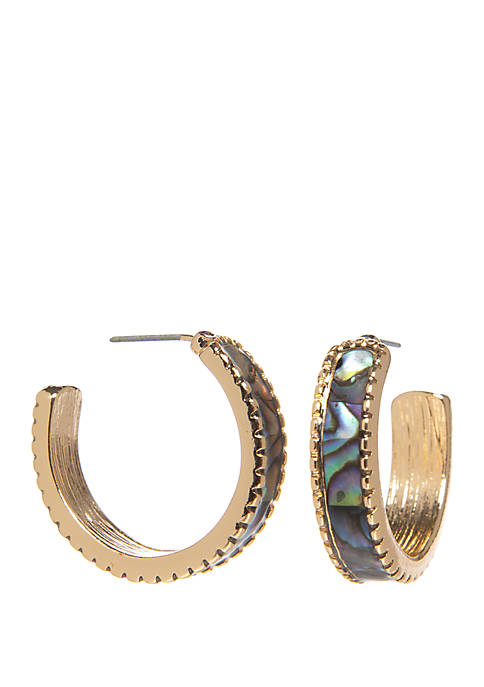 New Directions® Abalone Hoop Earrings