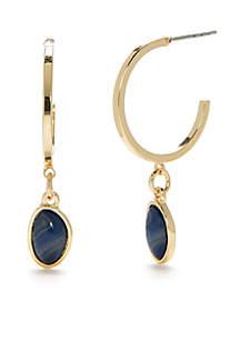 Gold-Tone Hoop With Drop Earrings