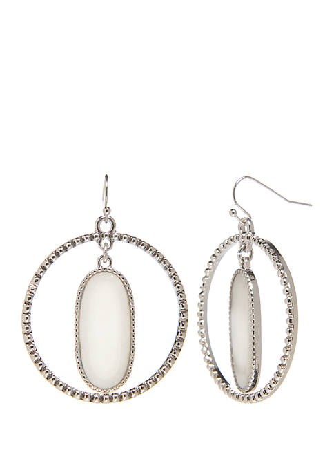 Oval Abalone Circle Earrings