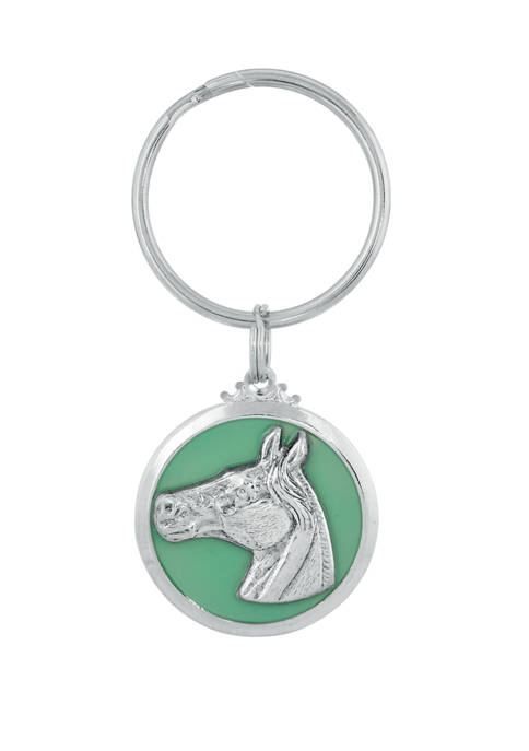 1928 Jewelry Silver Tone Horse Enamel Turquoise Color
