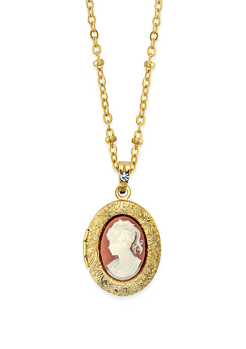 1928 Jewelry Gold-Tone Oval Cameo Locket Necklace