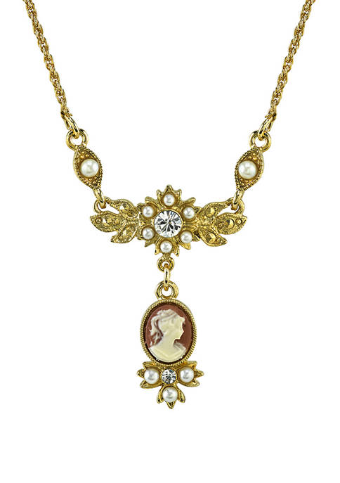 Downton Abbey Oval Cameo Drop with Crystal Necklace