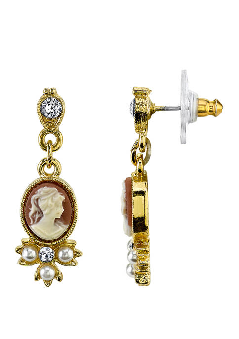 Downton Abbey Oval Cameo Faux Pearl and Crystal