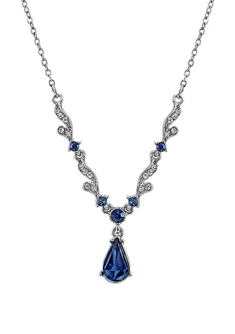 Downton Abbey Crystal French Scroll Linked Necklace