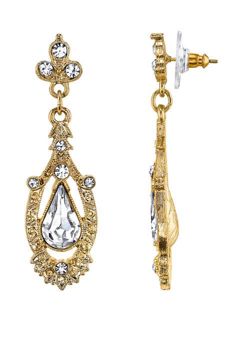 Downton Abbey Crystal Pear Drop Earrings