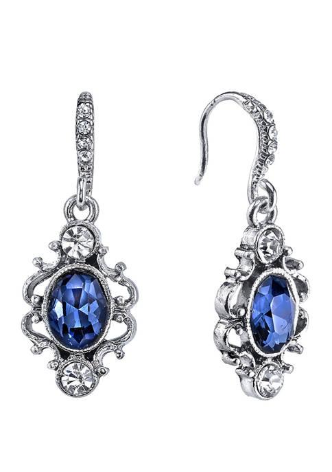 Downton Abbey Crystal Oval Drop Earrings