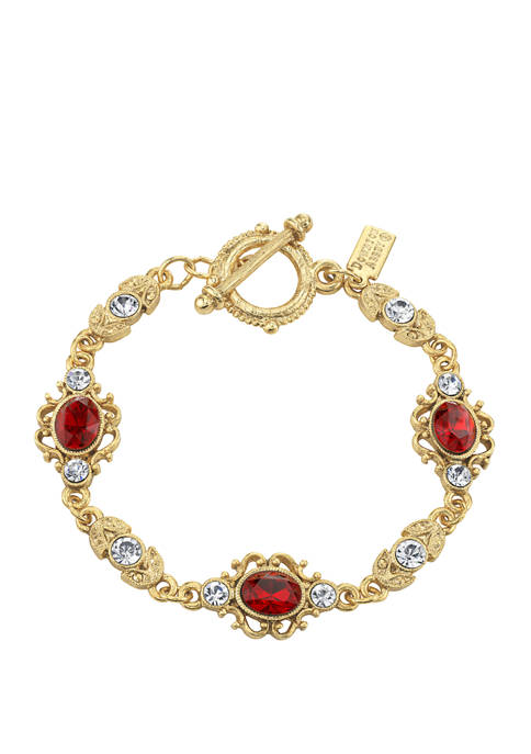 Downton Abbey Crystal Link Toggle Bracelet