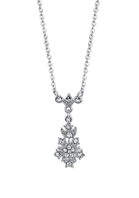 Downton Abbey Crystal Drop Pendant Necklace