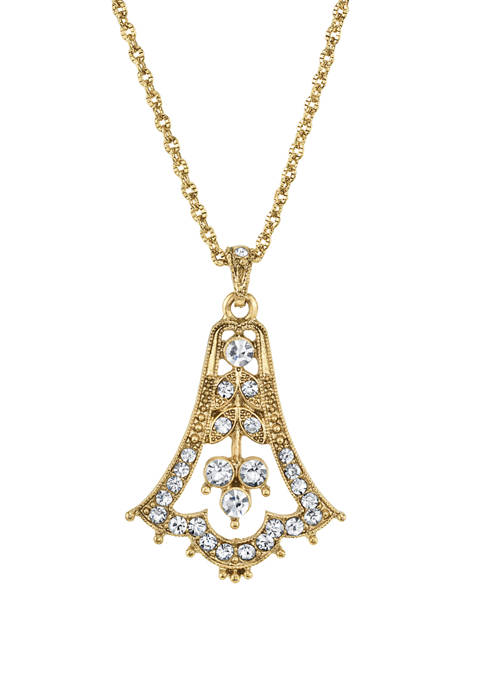 Downton Abbey Crystal Bell Pendant Necklace
