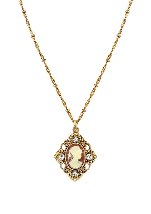 Downton Abbey Cameo with Crystal Accent Pendant Necklace