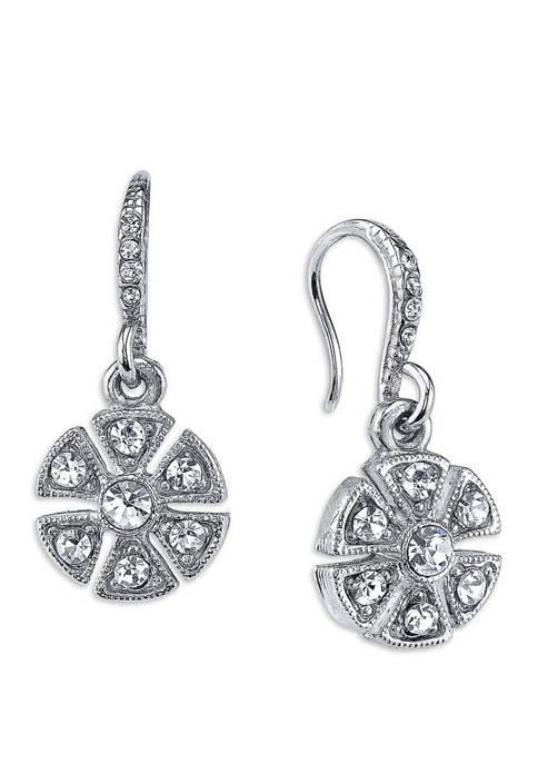 Downton Abbey Crystal Flower Drop Earrings