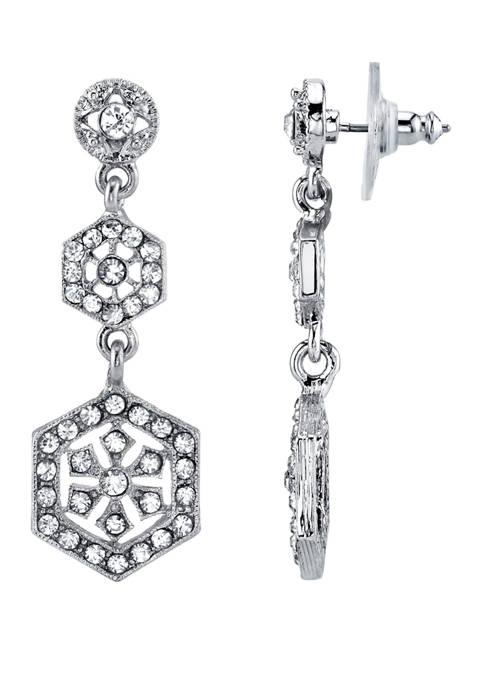 Downton Abbey Crystal Linear Post Drop Earrings