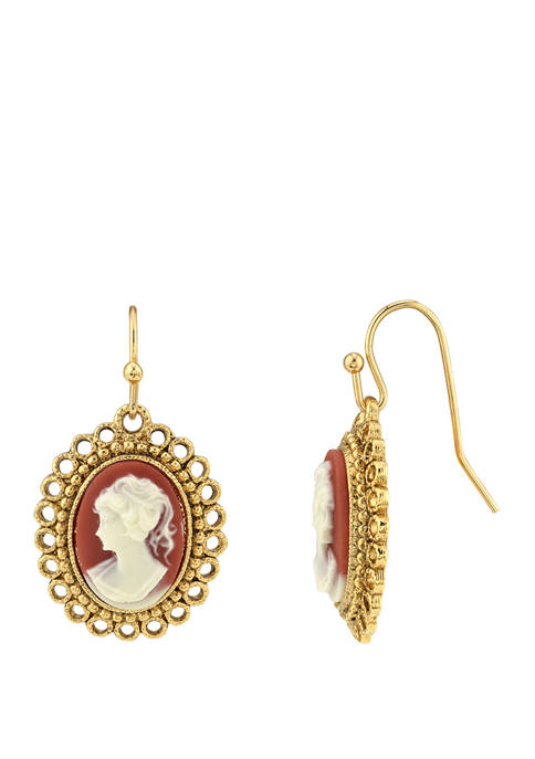 Downton Abbey Carnelian Cameo Oval Drop Wire Earrings