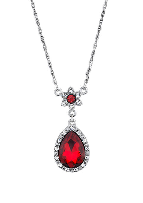 Downton Abbey Crystal Flower Teardrop Pendant Necklace