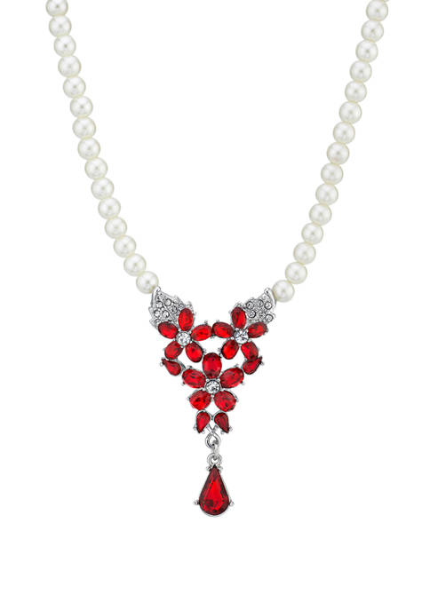 Downton Abbey Crystal Teardrop Pearl Necklace