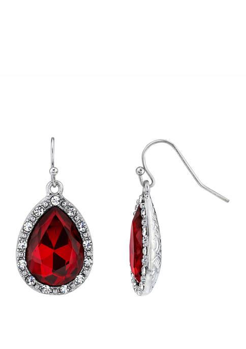 Downton Abbey Crystal Accent Teardrop Wire Earrings