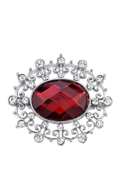 Downton Abbey Crystal Accent Oval Pin