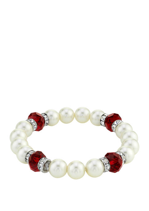 Downton Abbey Crystal Simulated Pearl Stretch Bracelet
