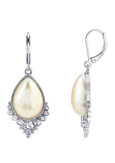 Crystal and Pearl Teardrop Earrings