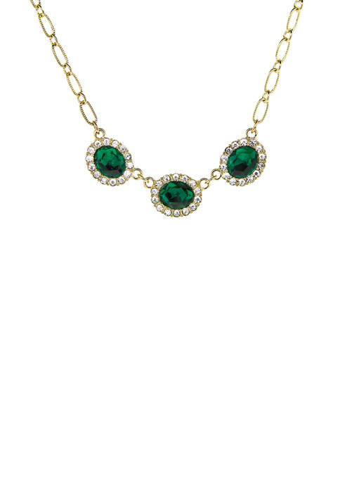 Downton Abbey Peridot Color with Crystal Accent Necklace