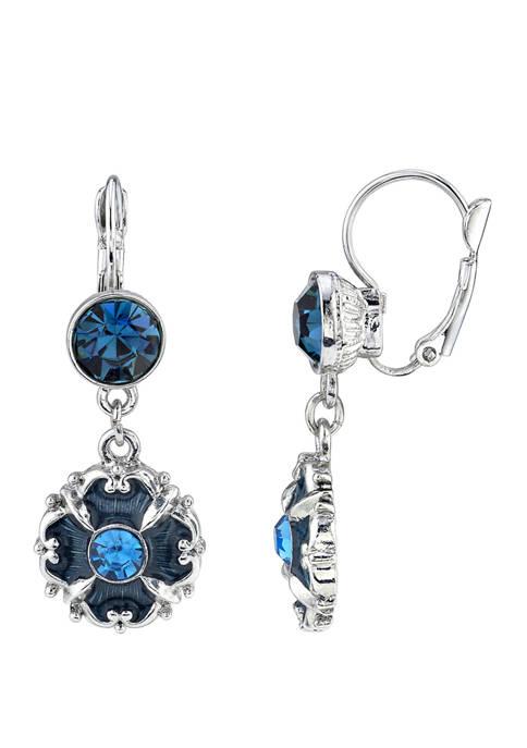 Downton Abbey Crystal and Enamel Drop Earrings
