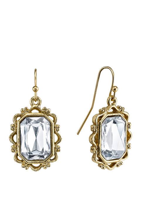 Downton Abbey Crystal Rectangle Drop Earrings