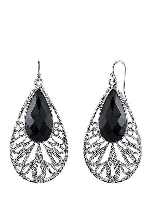 1928 Jewelry Silver Tone Black Teardrop Earrings