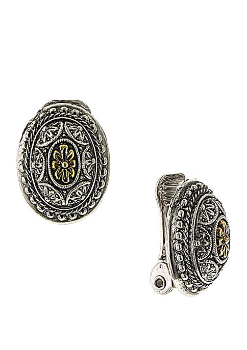1928 Jewelry Silver Tone and Brass Oval Clip