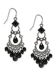 Hematite Tone with Black Bead Wire Earrings