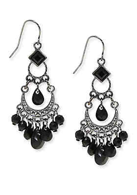 d4af1ff1a92169 1928 Jewelry Hematite Tone with Black Bead Wire Earrings