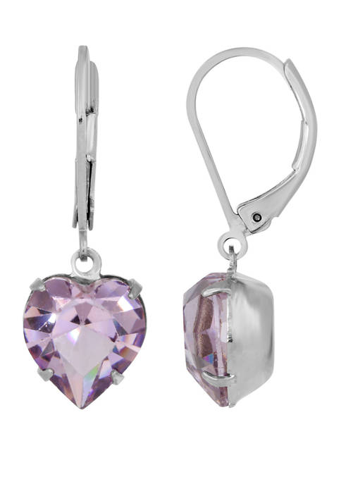 1928 Jewelry Silver Tone Light Amethyst Purple Swarvoski