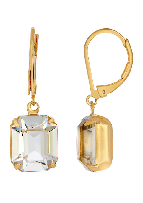 1928 Jewelry Gold Tone Octagon Drop Earrings Made