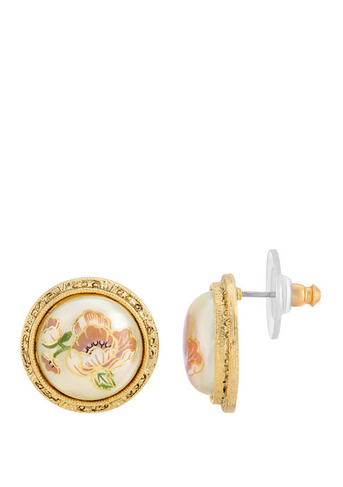 1928 Jewelry Gold Tone Flower Decal Pearl Round