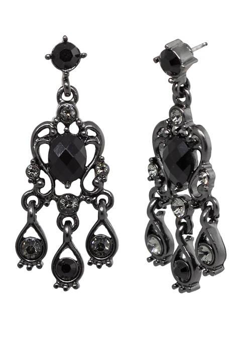 1928 Jewelry Black Tone Black Diamond Chandelier Earrings