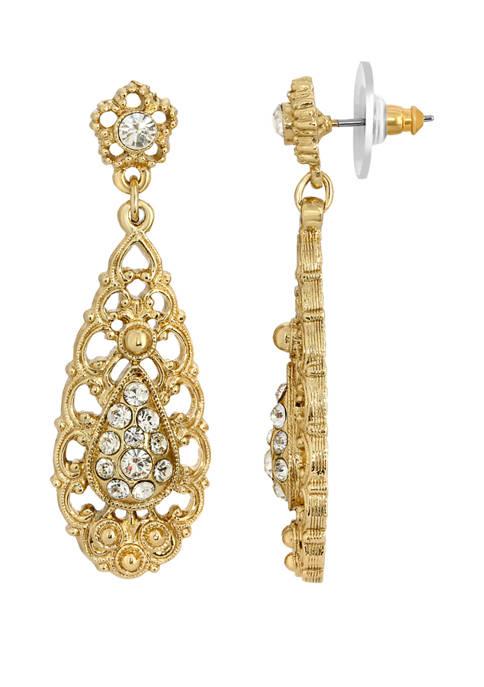 1928 Jewelry Gold Tone Crystal Filigree Drop Earrings